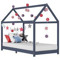 vidaXL sengestel til børneseng 90 x 200 cm massivt fyrretræ grå