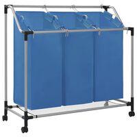 vidaXL vasketøjskurv med 3 poser stål blå