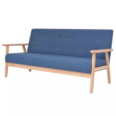 vidaXL 3-personers sofa stof blå