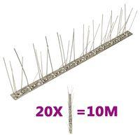 vidaXL fuglepigge 5 rækker sæt af 20 stk. 10 m rustfrit stål