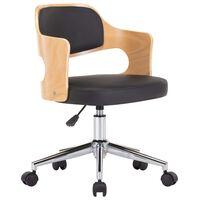 vidaXL drejelig kontorstol bøjet træ og kunstlæder sort