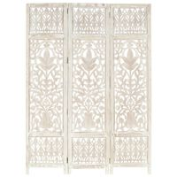 vidaXL 3-panels rumdeler håndskåret 120 x 165 cm massivt mangotræ hvid