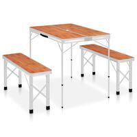 vidaXL foldbart campingbord med 2 bænke aluminium brun