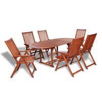 vidaXL udendørs spisebordssæt 7 dele massivt akacietræ