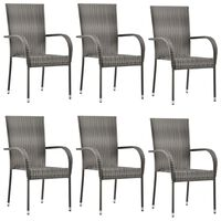 vidaXL stabelbare udendørsstole 6 stk. polyrattan grå