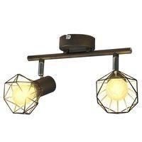 Sort spotlight, trådramme i industristil, 2 pærer med LED-glødetråd