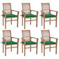 vidaXL spisebordsstole 6 stk. med grønne hynder massivt teaktræ