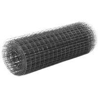 vidaXL hønsenet stål med PVC-belægning 25 x 0,5 m grå