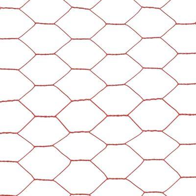 vidaXL hønsenet stål med PVC-belægning 25 x 1,2 m rød
