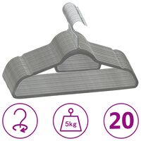vidaXL bøjler 20 stk. skridsikre fløjl grå