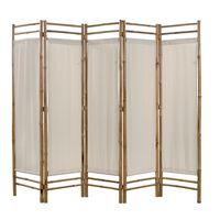 vidaXL foldbar 5-panels rumdeler bambus og kanvas 200 cm