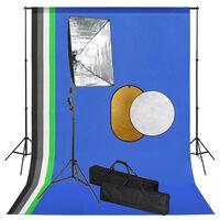 vidaXL fotostudiesæt med softbox-lamper, baggrund og reflektor