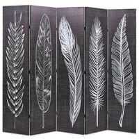 vidaXL foldbar rumdeler 200 x 170 cm fjer sort og hvid