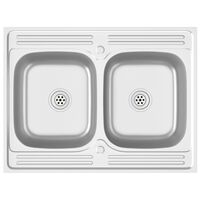vidaXL dobbelt køkkenvask 800x600x155 mm rustfrit stål sølvfarvet