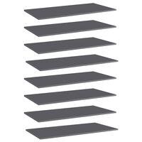 vidaXL boghylder 8 stk. 80x20x1,5 cm spånplade grå højglans