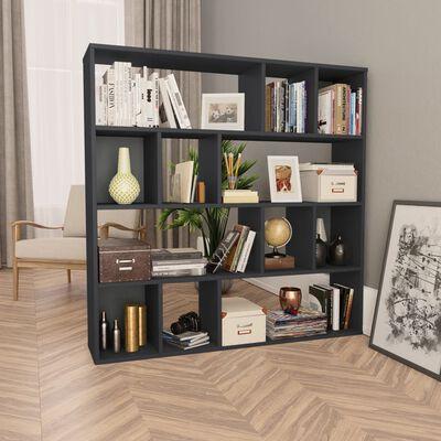 vidaXL rumdeler/bogskab 110 x 24 x 110 cm spånplade sort højglans