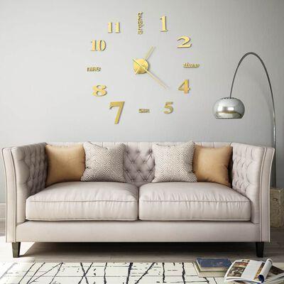 vidaXL 3D-vægur moderne design 100 cm XXL guldfarvet