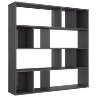 vidaXL rumdeler/bogskab 110 x 24 x 110 cm spånplade grå højglans