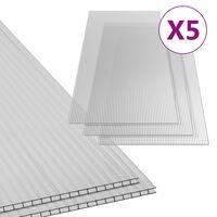 vidaXL polykarbonatplader 5 stk. 6 mm 150x65 cm