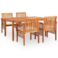 vidaXL udendørs spisebordssæt 5 dele med hynder massivt akacietræ
