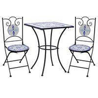 vidaXL bistrosæt 3 dele mosaikdesign keramiske fliser blå og hvid