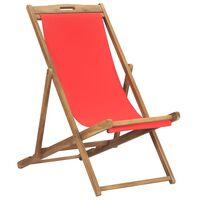 vidaXL foldbar strandstol massivt teaktræ rød