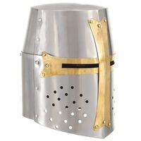 vidaXL middelalderlig korsridderhjelm til rollespil antik stål sølvfarvet