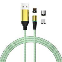 Opladningskabel med LED & støvstik - MicroUSB / USB-C / Lightning - Gr