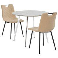 vidaXL spisebordssæt 3 dele kunstlæder cremefarvet