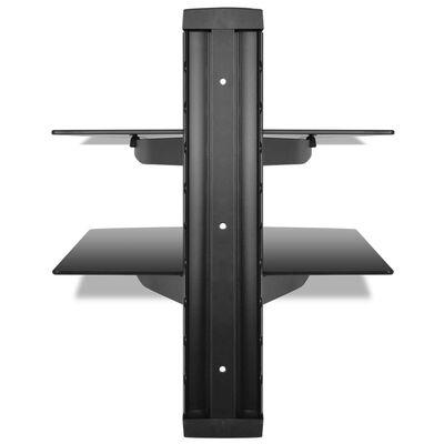 vidaXL vægmonteret DVD-hylde i 2 niveauer glas sort