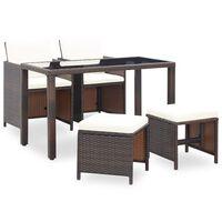vidaXL udendørs spisebordssæt 9 dele med hynder polyrattan brun