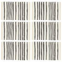 vidaXL dækkeservietter 6 stk. 30 x 45 cm bomuld antracitgrå og hvid