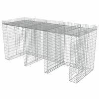 vidaXL gabionvæg til affaldsspand 270x100x130 cm galvaniseret stål