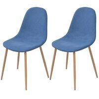 vidaXL spisebordsstole 2 stk. stof blå