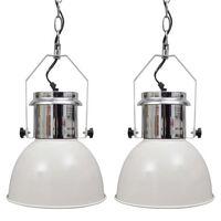 vidaXL loftslampe i metal 2 stk. højdejusterbar moderne hvid