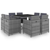 vidaXL udendørs spisebordssæt 9 dele med hynder polyrattan antracitgrå