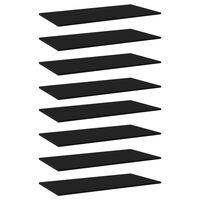 vidaXL boghylder 8 stk. 80x20x1,5 cm spånplader sort
