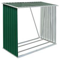 vidaXL brændeskur til haven galvaniseret stål 163x83x154 cm grøn