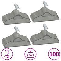 vidaXL bøjler 100 stk. skridsikre fløjl grå