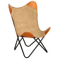 vidaXL butterflystol ægte læder og kanvas brun