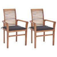 vidaXL spisebordsstole 2 stk. med antracitgrå hynder massivt teaktræ