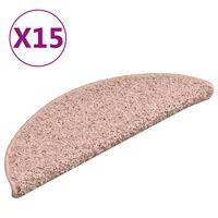 vidaXL trappemåtter 15 stk. 56x17x3 cm lyserød