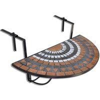 vidaXL hængende balkonbord mosaik terracotta og hvid