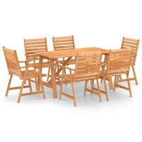 vidaXL spisebordssæt til haven 7 dele massivt akacietræ