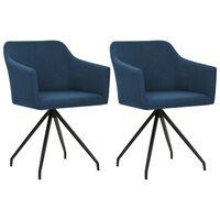 vidaXL drejelige spisebordsstole 2 stk. stof blå