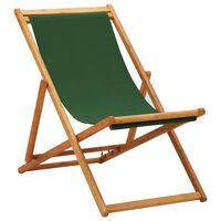 vidaXL foldbar strandstol eukalyptustræ og stof grøn