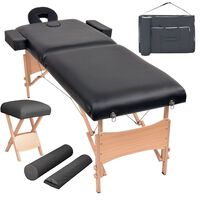 vidaXL foldbart 2-zoners massagebord- og skammelsæt 10 cm tykt sort