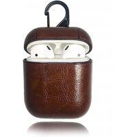 Taske til Apple AirPods 1/2 - PU læder - mørkebrun