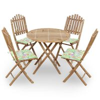 vidaXL udendørs spisebordssæt 5 dele med hynder foldbart bambus