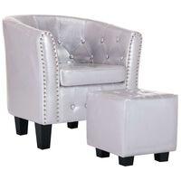 vidaXL lænestol med fodskammel kunstlæder blank sølvfarvet